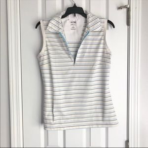 Adidas Striped Collar Sleeveless Fitted Golf Tee M